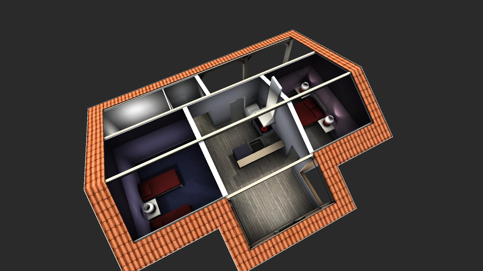 Simulation 3D pour un projet d'emménagement.