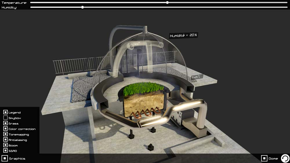 Vue en coupe dôme Ecotron: rendu 3D interactif Unity 5